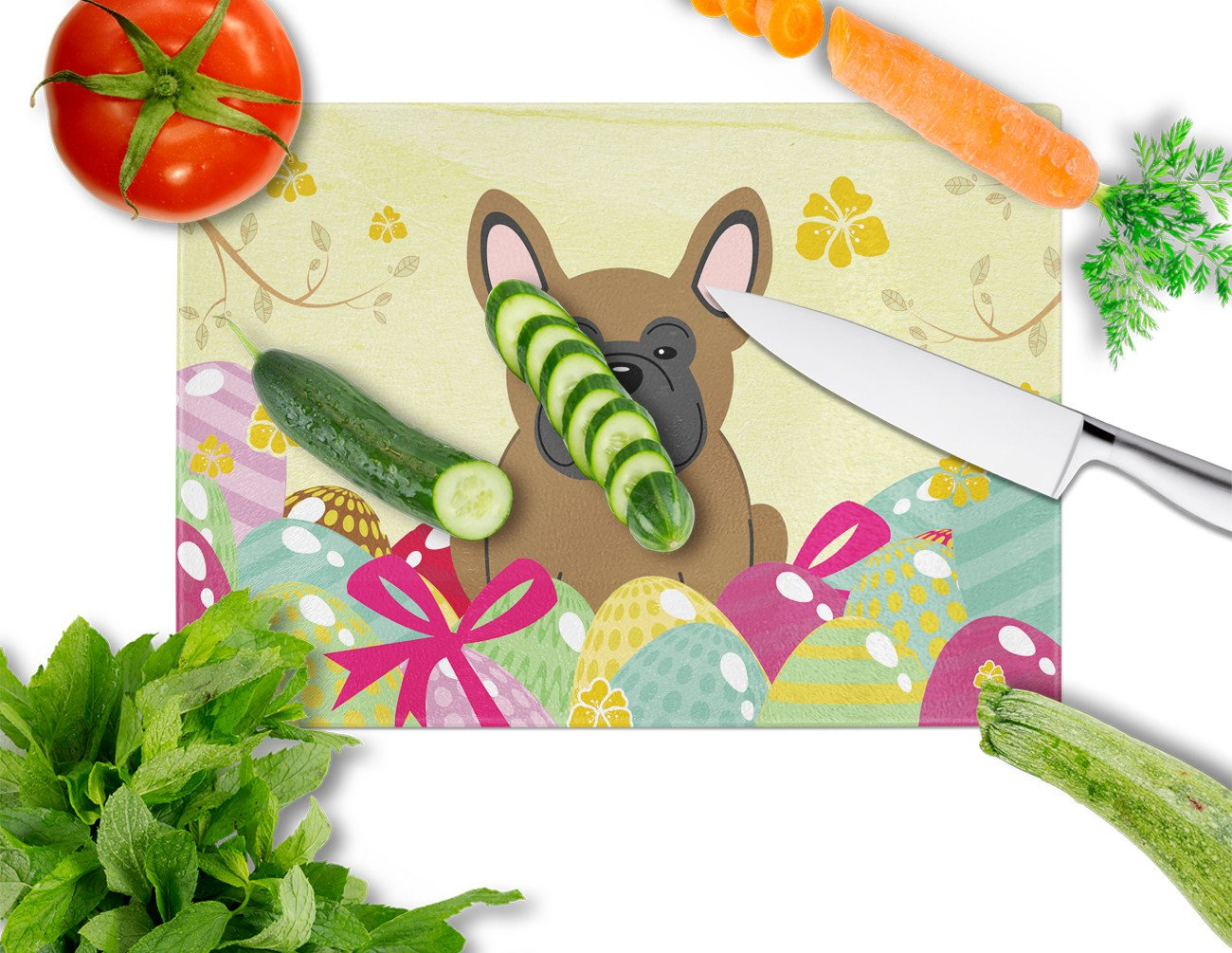 Easter Eggs French Bulldog Brown Glass Cutting Board Large BB6013LCB by Caroline's Treasures