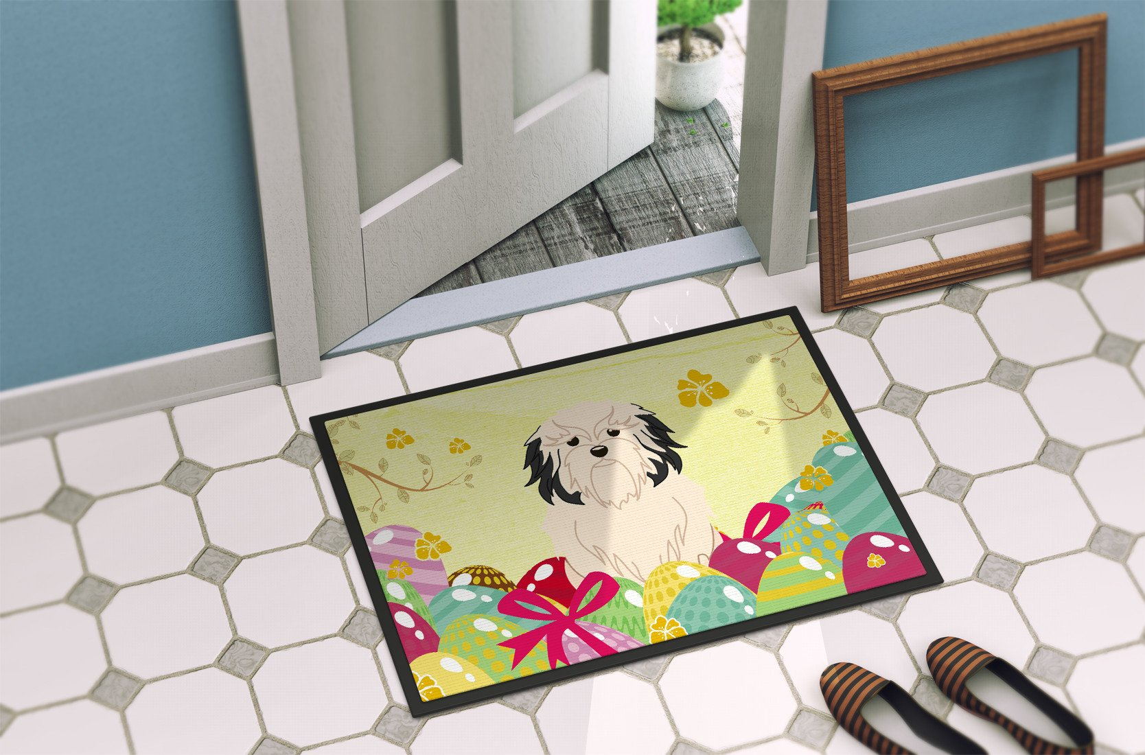 Easter Eggs Lowchen Indoor or Outdoor Mat 24x36 BB6019JMAT by Caroline's Treasures