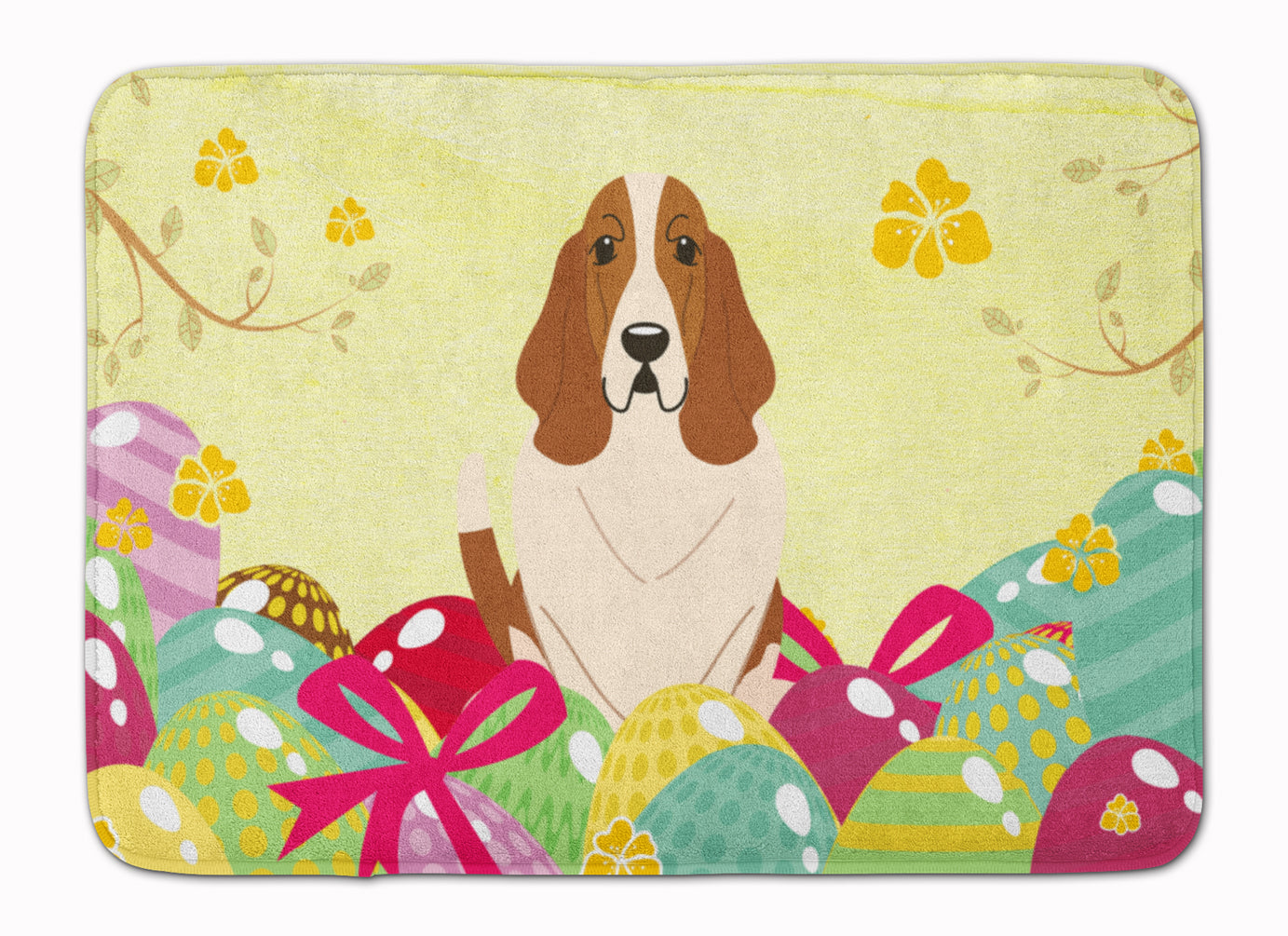 Easter Eggs Basset Hound Machine Washable Memory Foam Mat BB6021RUG by Caroline's Treasures