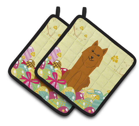 Buy this Easter Eggs Karelian Bear Dog Pair of Pot Holders BB6022PTHD