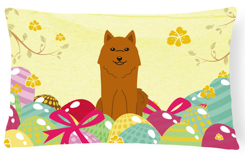 Buy this Easter Eggs Karelian Bear Dog Canvas Fabric Decorative Pillow BB6022PW1216