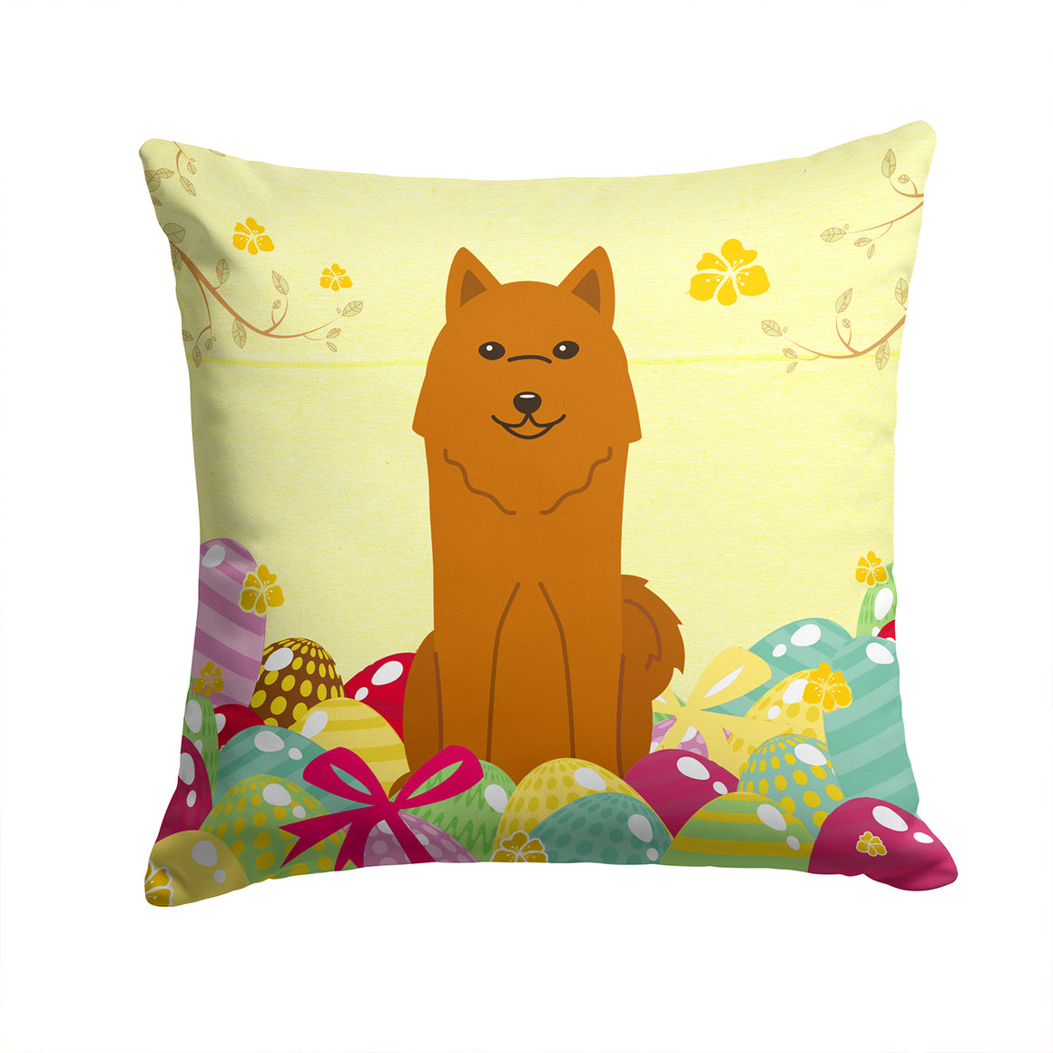 Buy this Easter Eggs Karelian Bear Dog Fabric Decorative Pillow BB6022PW1414