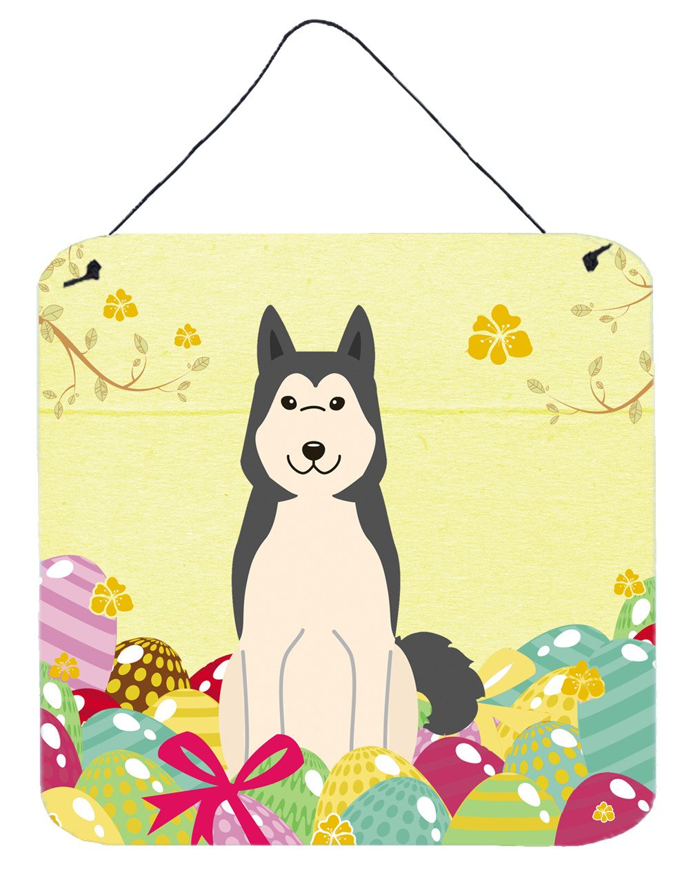 Easter Eggs West Siberian Laika Spitz Wall or Door Hanging Prints BB6025DS66 by Caroline's Treasures