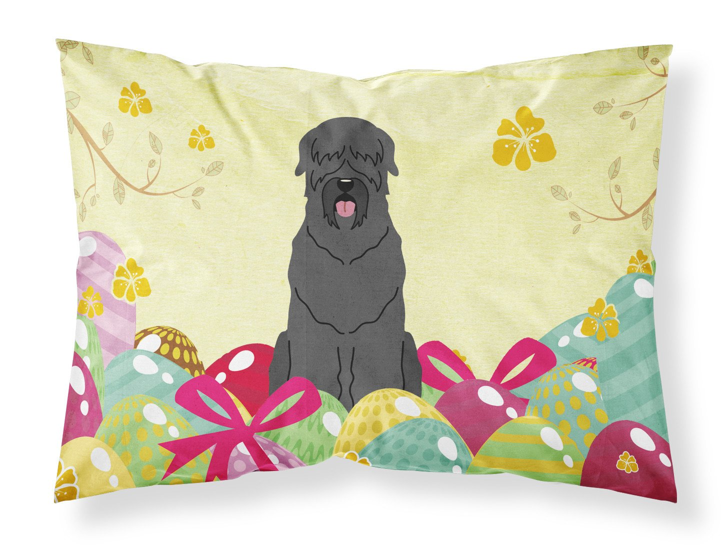Easter Eggs Black Russian Terrier Fabric Standard Pillowcase BB6026PILLOWCASE by Caroline's Treasures