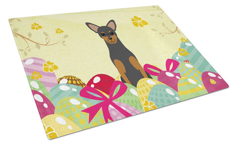 Buy this Easter Eggs Manchester Terrier Glass Cutting Board Large BB6028LCB