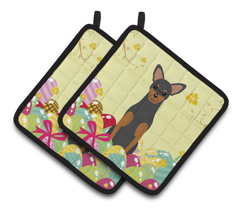Buy this Easter Eggs Manchester Terrier Pair of Pot Holders BB6028PTHD