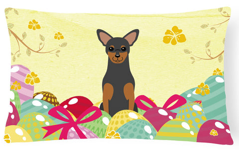 Buy this Easter Eggs Manchester Terrier Canvas Fabric Decorative Pillow BB6028PW1216