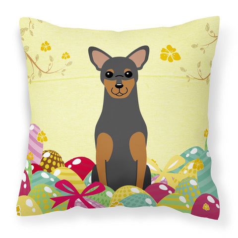 Buy this Easter Eggs Manchester Terrier Fabric Decorative Pillow BB6028PW1818