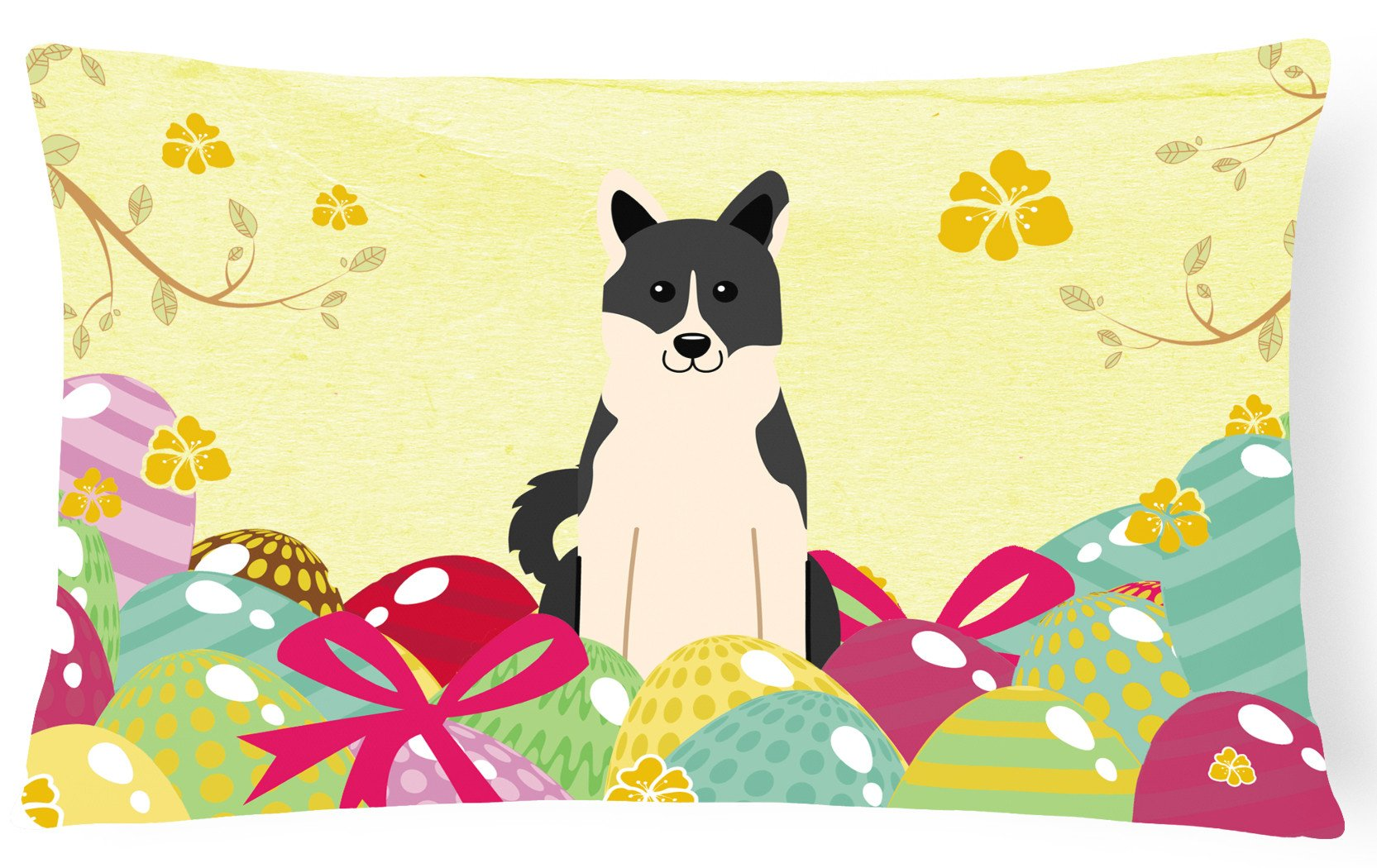 Easter Eggs Russo-European Laika Spitz Canvas Fabric Decorative Pillow BB6029PW1216 by Caroline's Treasures