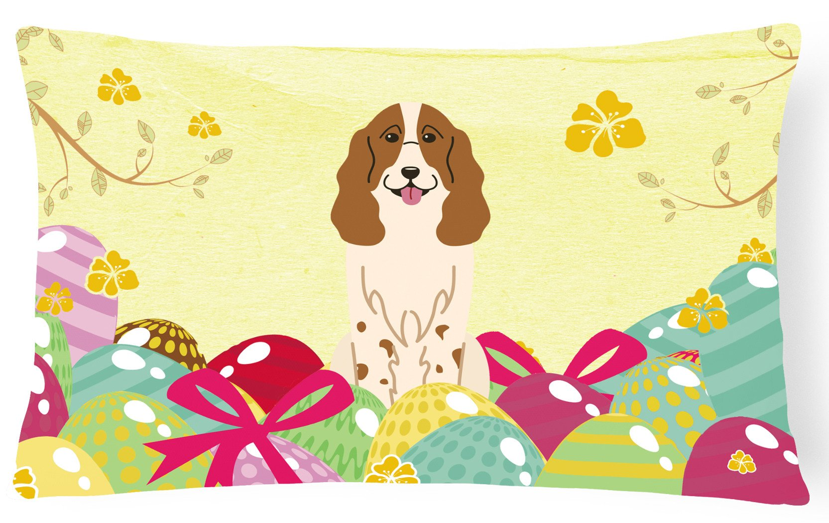 Easter Eggs Russian Spaniel Canvas Fabric Decorative Pillow BB6031PW1216 by Caroline's Treasures