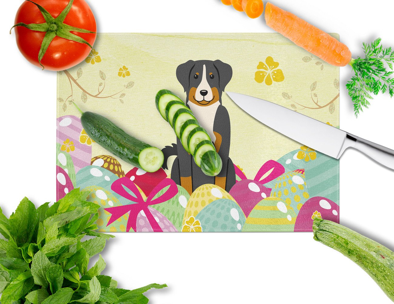 Easter Eggs Appenzeller Sennenhund Glass Cutting Board Large BB6043LCB by Caroline's Treasures