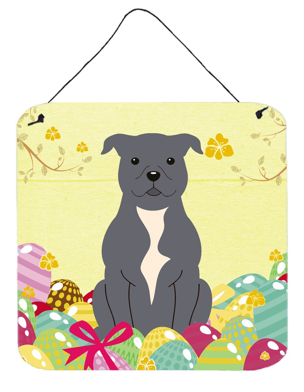 Buy this Easter Eggs Staffordshire Bull Terrier Blue Wall or Door Hanging Prints BB6046DS66