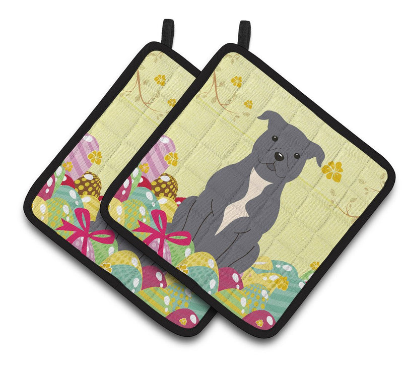 Buy this Easter Eggs Staffordshire Bull Terrier Blue Pair of Pot Holders BB6046PTHD