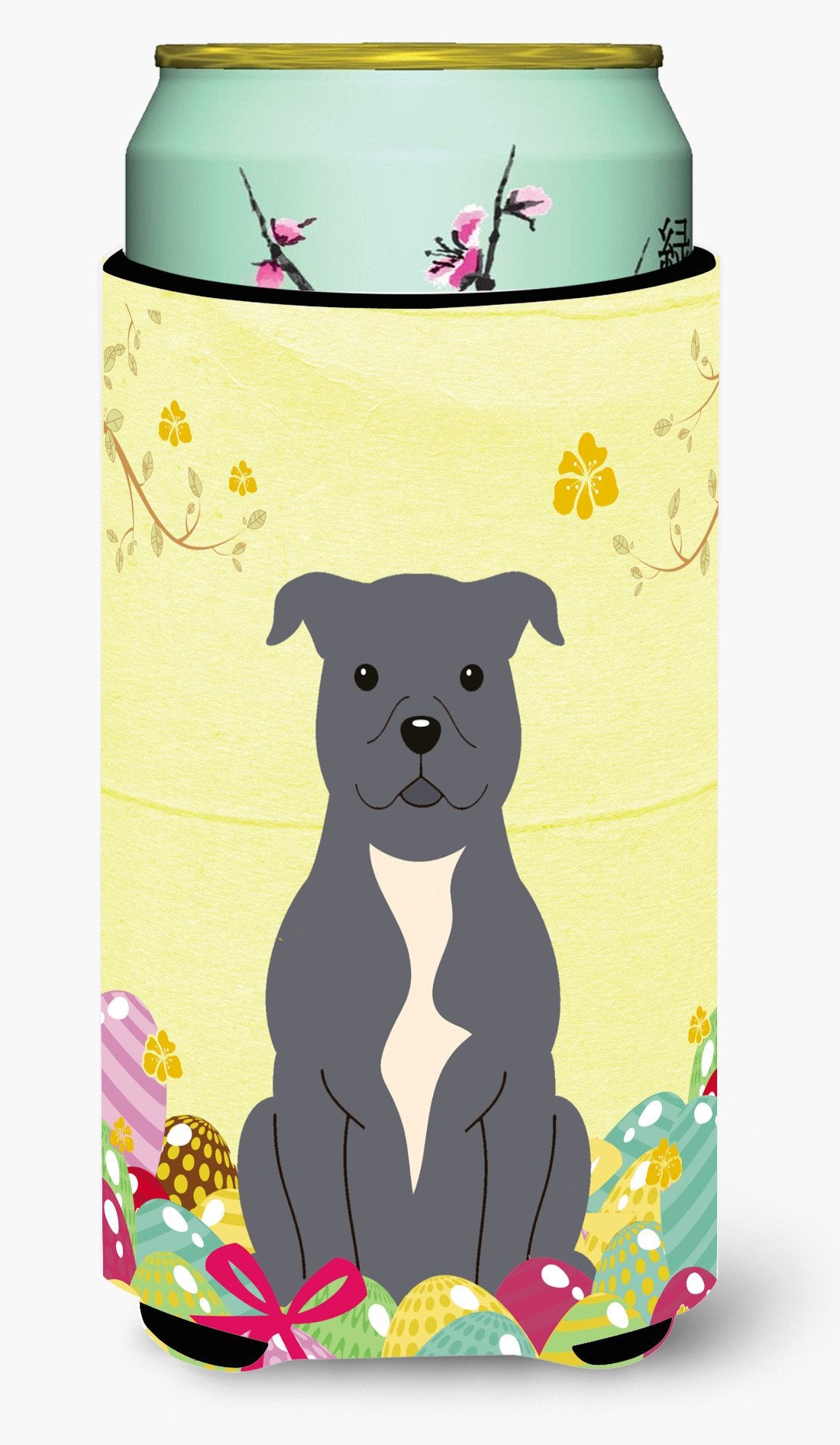 Easter Eggs Staffordshire Bull Terrier Blue Tall Boy Beverage Insulator Hugger BB6046TBC by Caroline's Treasures