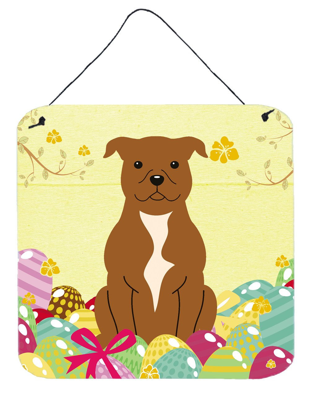 Buy this Easter Eggs Staffordshire Bull Terrier Brown Wall or Door Hanging Prints BB6047DS66