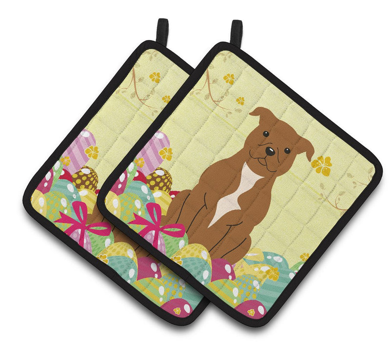 Buy this Easter Eggs Staffordshire Bull Terrier Brown Pair of Pot Holders BB6047PTHD