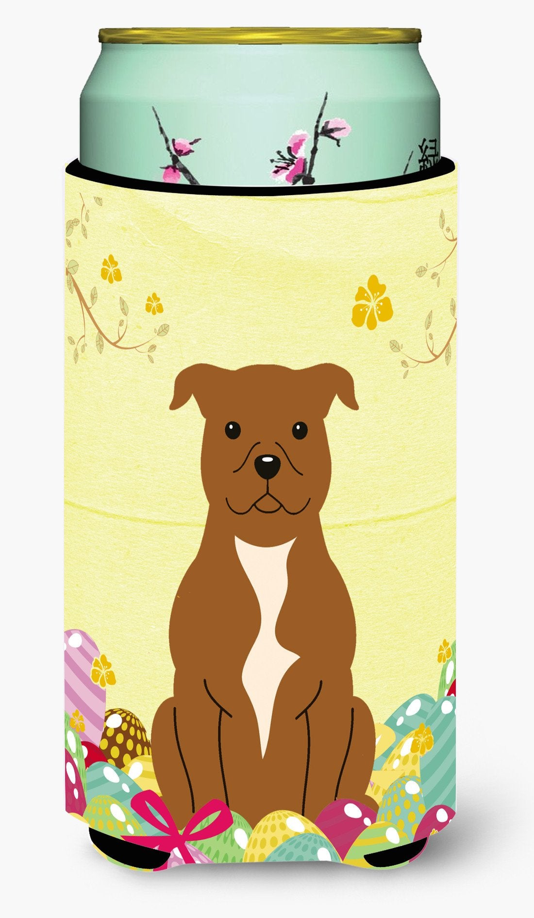 Easter Eggs Staffordshire Bull Terrier Brown Tall Boy Beverage Insulator Hugger BB6047TBC by Caroline's Treasures