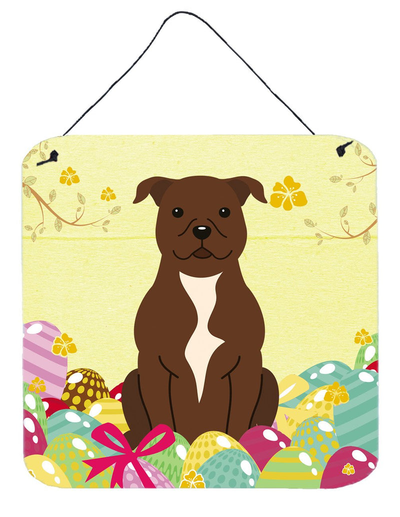 Buy this Easter Eggs Staffordshire Bull Terrier Chocolate Wall or Door Hanging Prints BB6048DS66
