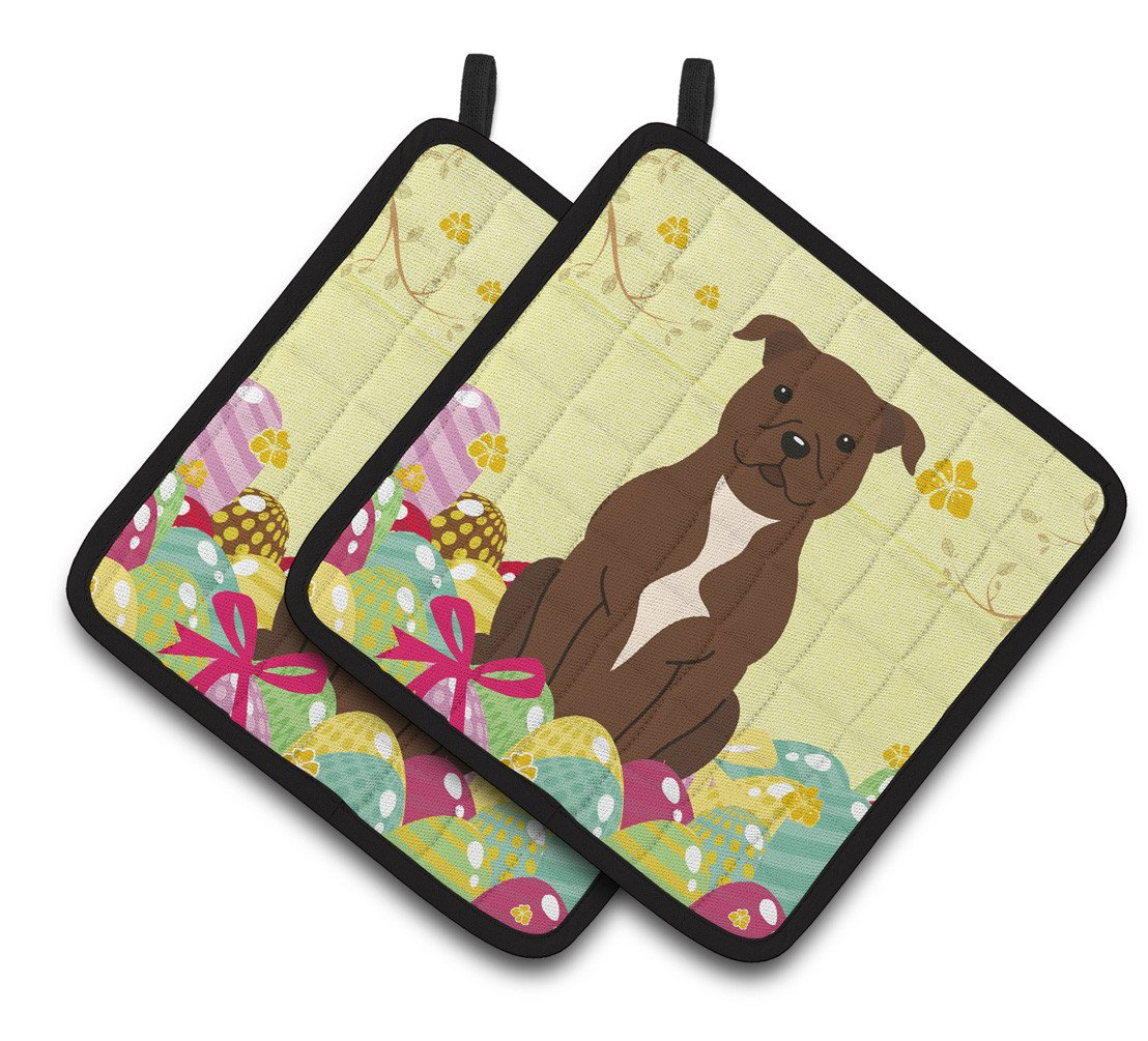 Buy this Easter Eggs Staffordshire Bull Terrier Chocolate Pair of Pot Holders BB6048PTHD