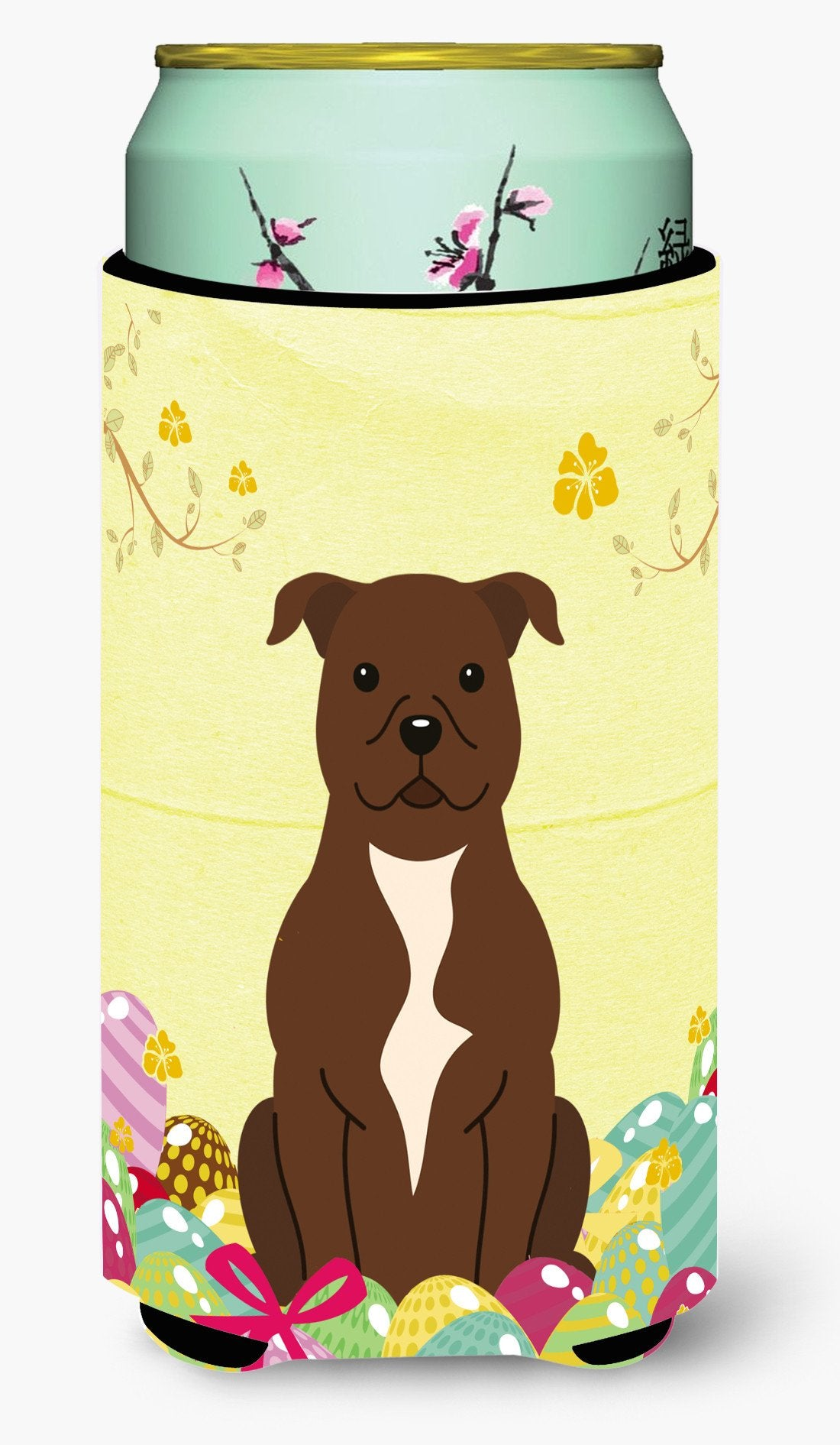 Easter Eggs Staffordshire Bull Terrier Chocolate Tall Boy Beverage Insulator Hugger BB6048TBC by Caroline's Treasures