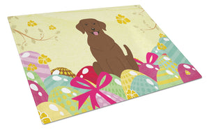 Buy this Easter Eggs Chocolate Labrador Glass Cutting Board Large BB6056LCB