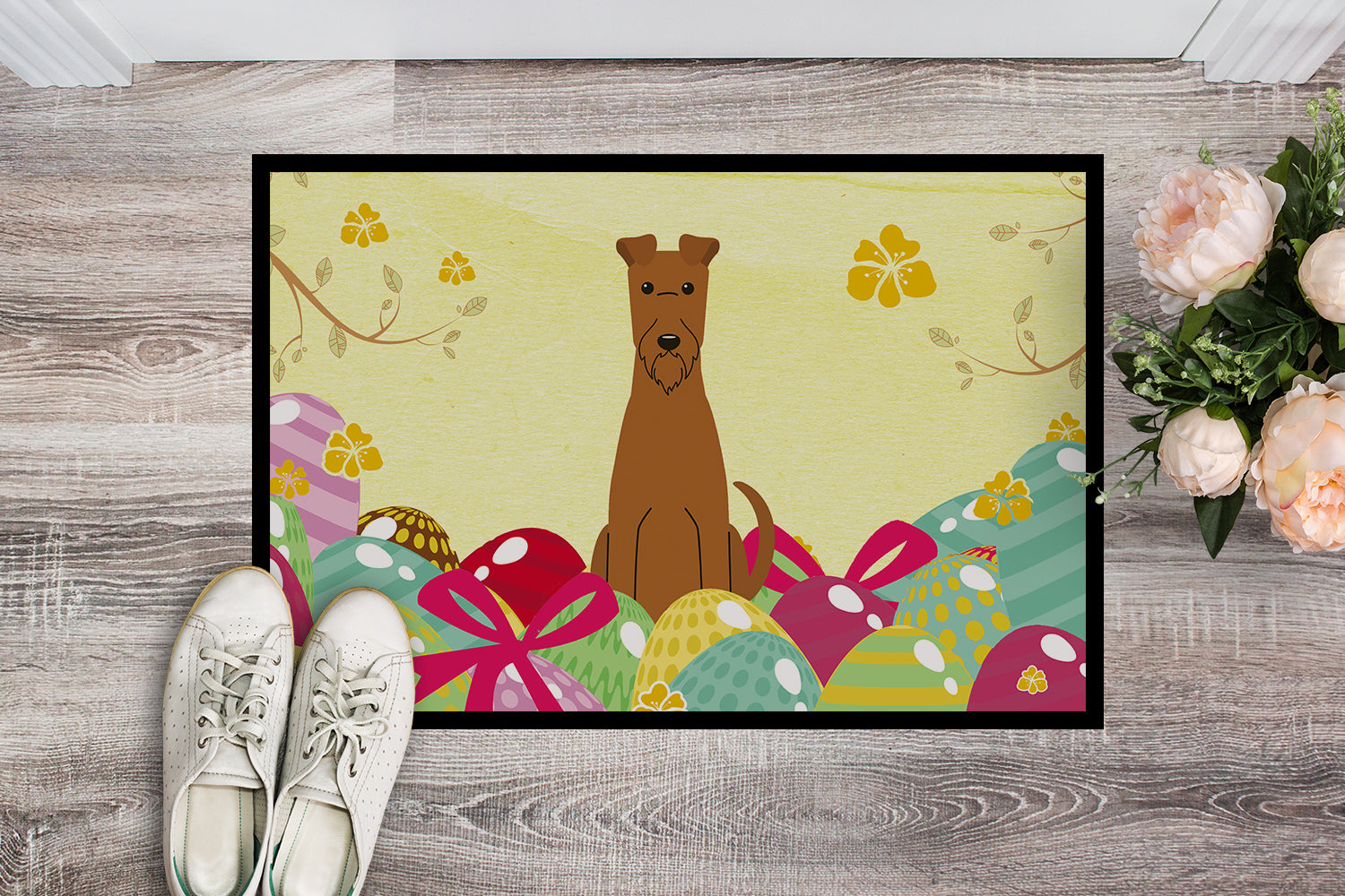 Easter Eggs Irish Terrier Indoor or Outdoor Mat 18x27 BB6062MAT by Caroline's Treasures