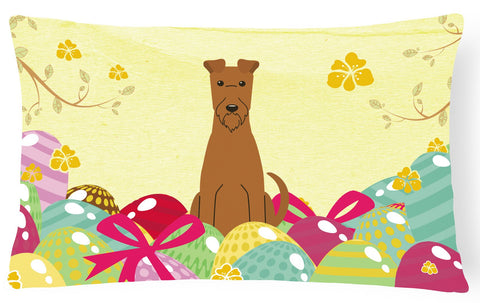 Buy this Easter Eggs Irish Terrier Canvas Fabric Decorative Pillow BB6062PW1216