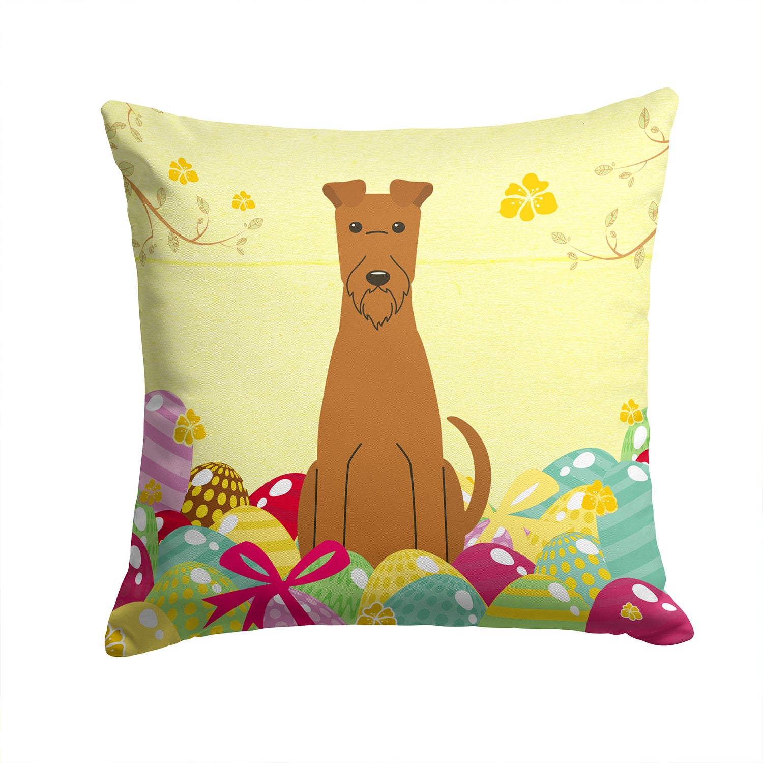 Easter Eggs Irish Terrier Fabric Decorative Pillow BB6062PW1414 by Caroline's Treasures