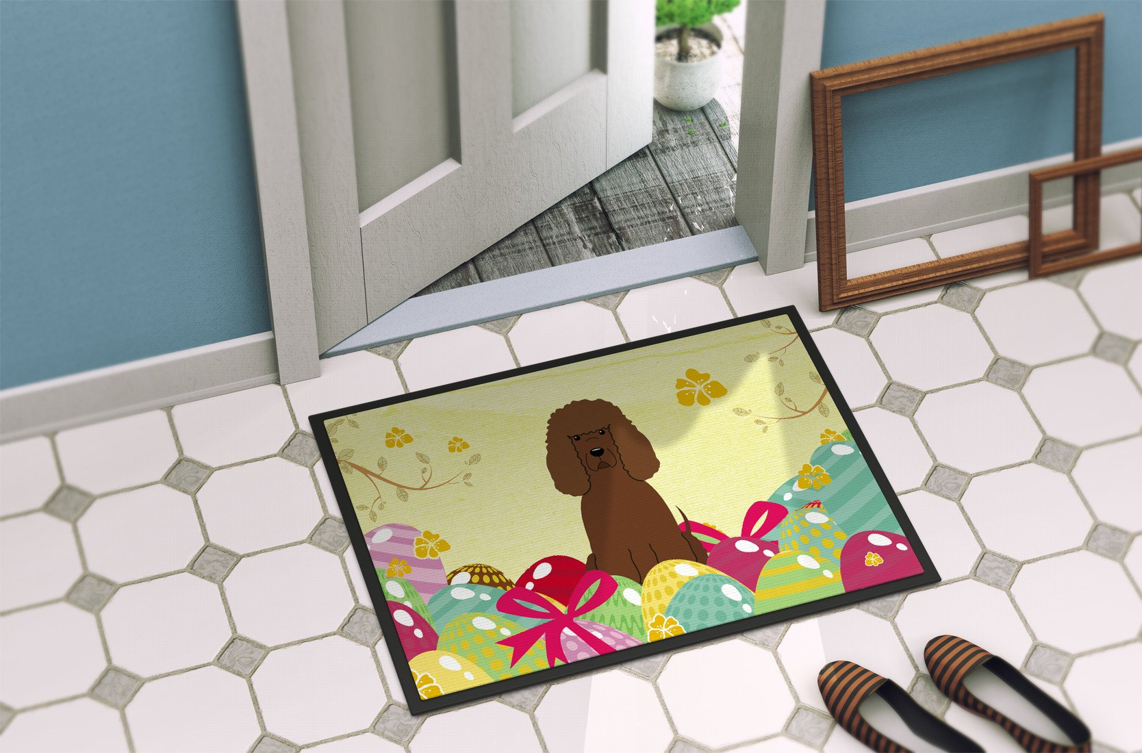 Easter Eggs Irish Water Spaniel Indoor or Outdoor Mat 24x36 BB6063JMAT by Caroline's Treasures