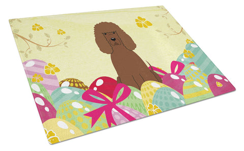 Buy this Easter Eggs Irish Water Spaniel Glass Cutting Board Large BB6063LCB