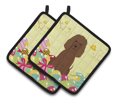 Buy this Easter Eggs Irish Water Spaniel Pair of Pot Holders BB6063PTHD