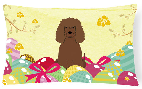 Buy this Easter Eggs Irish Water Spaniel Canvas Fabric Decorative Pillow BB6063PW1216