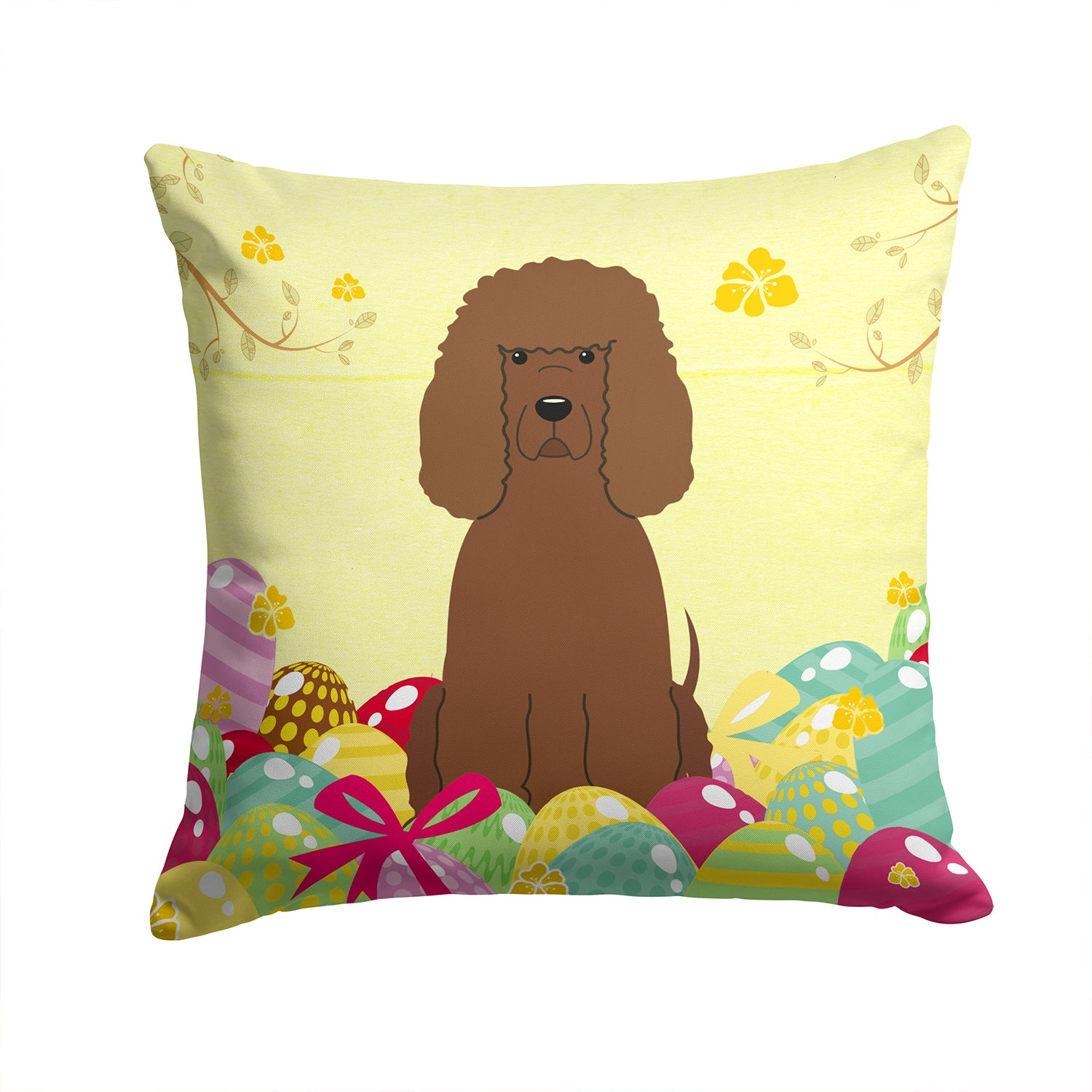 Buy this Easter Eggs Irish Water Spaniel Fabric Decorative Pillow BB6063PW1414