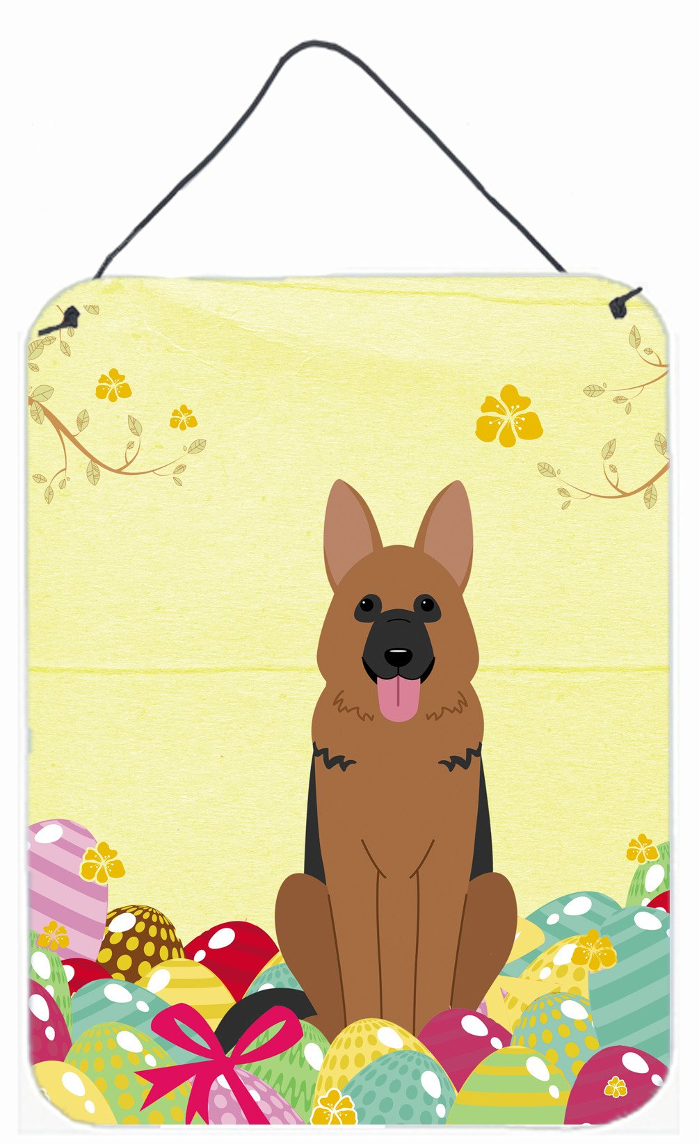 Easter Eggs German Shepherd Wall or Door Hanging Prints BB6067DS1216 by Caroline's Treasures