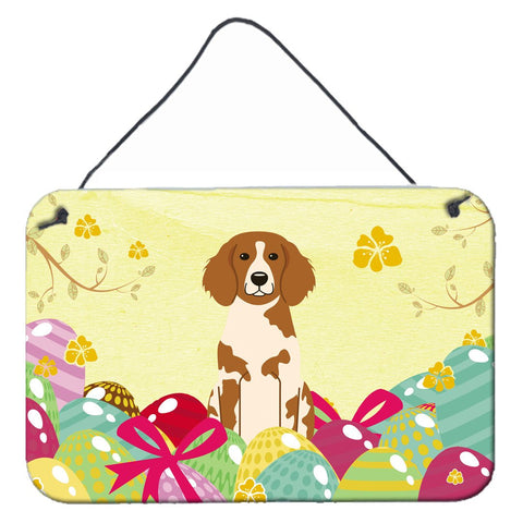 Buy this Easter Eggs Brittany Spaniel Wall or Door Hanging Prints BB6072DS812