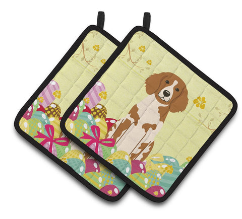 Buy this Easter Eggs Brittany Spaniel Pair of Pot Holders BB6072PTHD