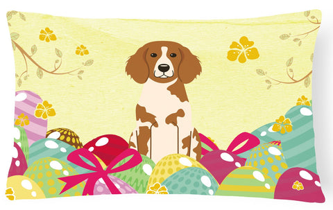 Buy this Easter Eggs Brittany Spaniel Canvas Fabric Decorative Pillow BB6072PW1216
