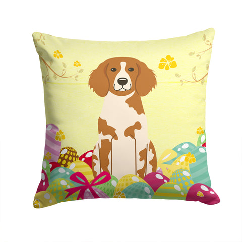 Buy this Easter Eggs Brittany Spaniel Fabric Decorative Pillow BB6072PW1414