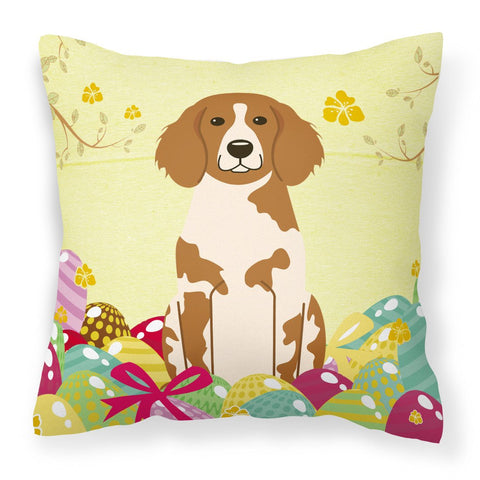 Buy this Easter Eggs Brittany Spaniel Fabric Decorative Pillow BB6072PW1818