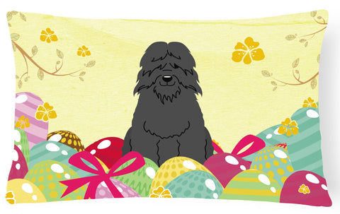 Buy this Easter Eggs Bouvier des Flandres Canvas Fabric Decorative Pillow BB6074PW1216