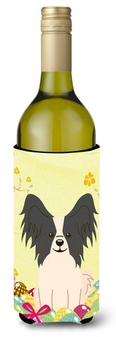 Buy this Easter Eggs Papillon Black White Wine Bottle Beverge Insulator Hugger BB6076LITERK