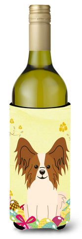 Buy this Easter Eggs Papillon Red White Wine Bottle Beverge Insulator Hugger BB6078LITERK