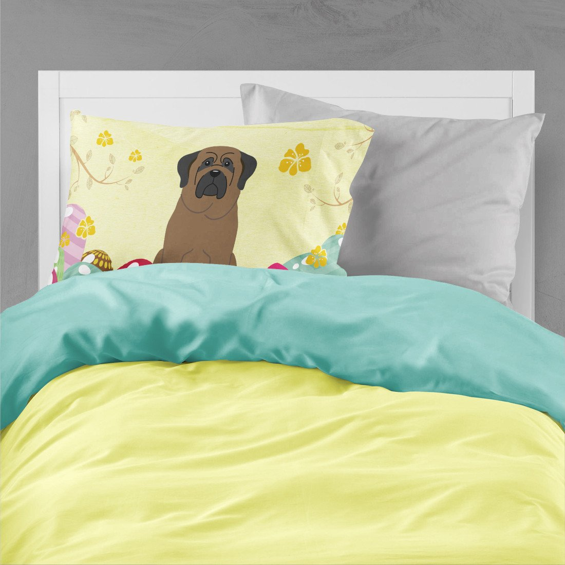 Easter Eggs Bullmastiff Fabric Standard Pillowcase BB6084PILLOWCASE by Caroline's Treasures