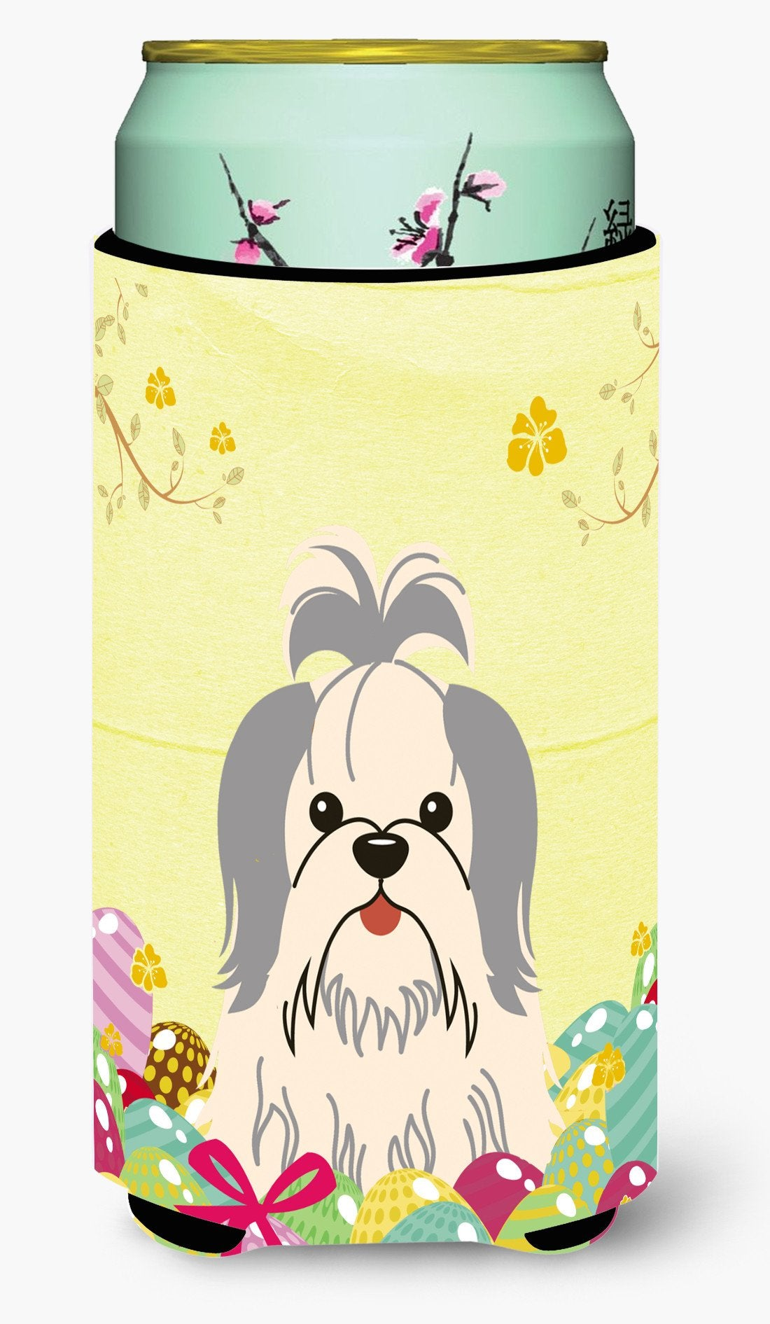 Easter Eggs Shih Tzu Silver White Tall Boy Beverage Insulator Hugger BB6085TBC by Caroline's Treasures