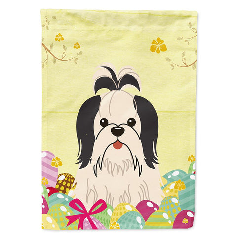 Buy this Easter Eggs Shih Tzu Black White Flag Garden Size BB6088GF