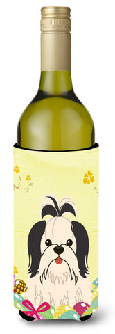 Buy this Easter Eggs Shih Tzu Black White Wine Bottle Beverge Insulator Hugger BB6088LITERK