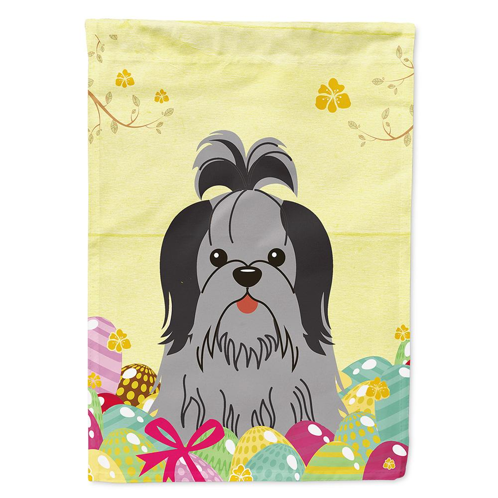 Buy this Easter Eggs Shih Tzu Black Silver Flag Garden Size BB6089GF