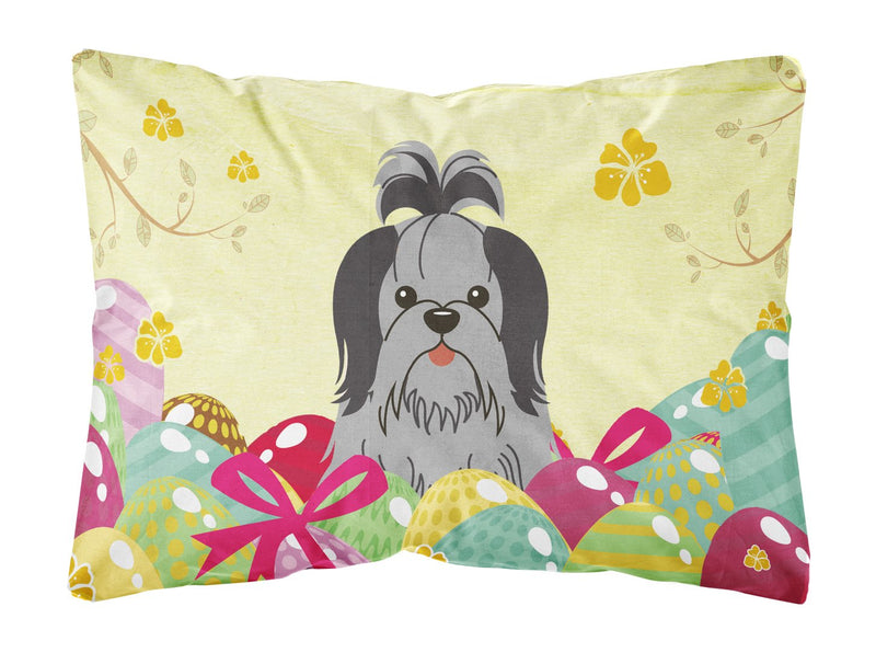 Buy this Easter Eggs Shih Tzu Black Silver Canvas Fabric Decorative Pillow BB6089PW1216