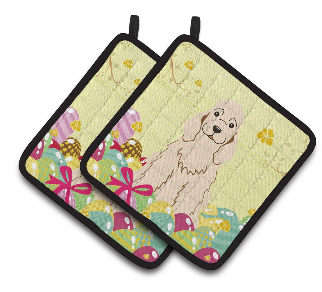 Easter Eggs Cocker Spaniel Buff Pair of Pot Holders BB6094PTHD by Caroline's Treasures