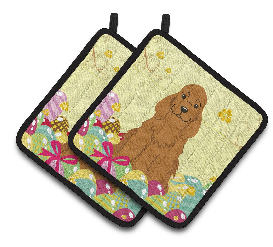 Easter Eggs Cocker Spaniel Red Pair of Pot Holders BB6095PTHD by Caroline's Treasures
